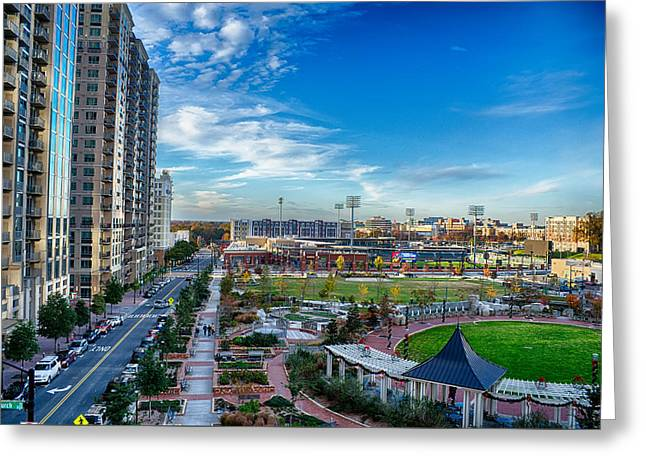 Aerial View Of Romare Bearden Park In Downtown Charlotte North C Greeting Card