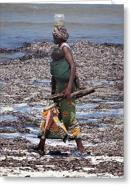 African Woman Collecting Shells 1 Greeting Card