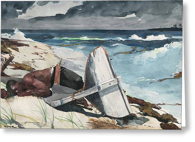 After The Hurricane, Bahamas Greeting Card by Winslow Homer