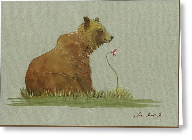 Alaskan Grizzly Bear Greeting Card by Juan Bosco