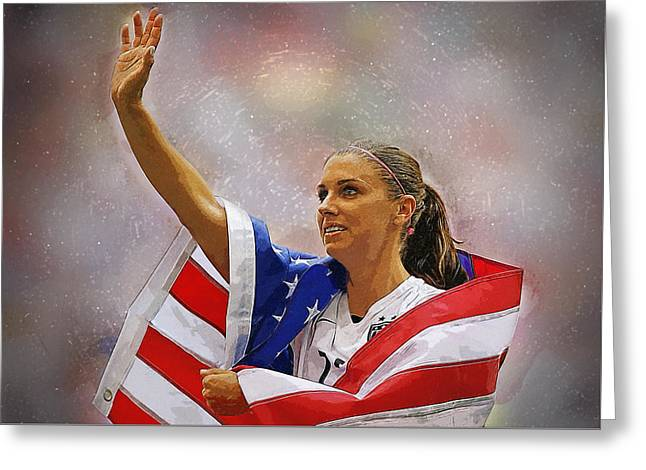 Alex Morgan Greeting Card by Semih Yurdabak