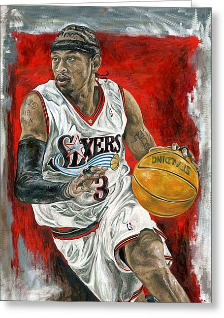 Allen Iverson Greeting Card by David Courson