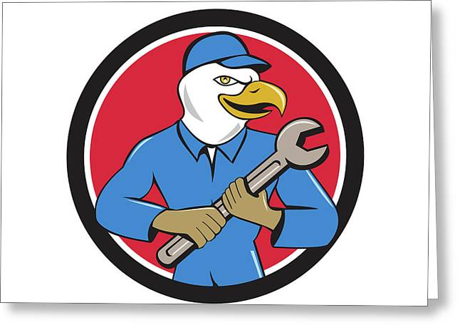 American Bald Eagle Mechanic Spanner Circle Cartoon  Greeting Card