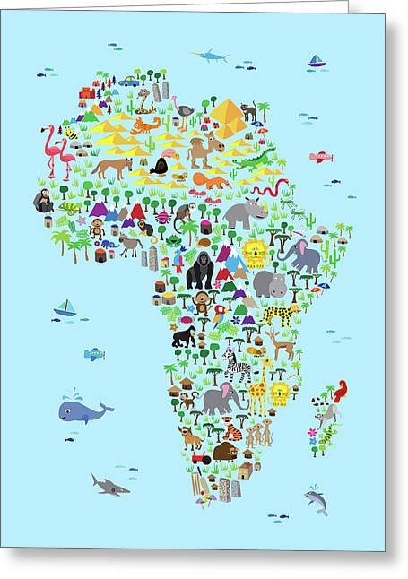 Animal Map Of Africa For Children And Kids Greeting Card by Michael Tompsett