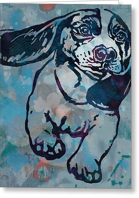 Animal Pop Art Etching Poster - Dog  Greeting Card