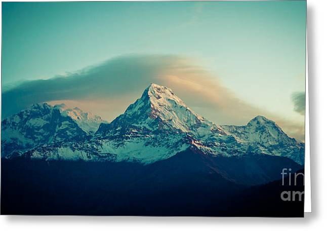 Annapurna South At Sunrise In Himalayas Artmif Photo Raimond Klavins Greeting Card