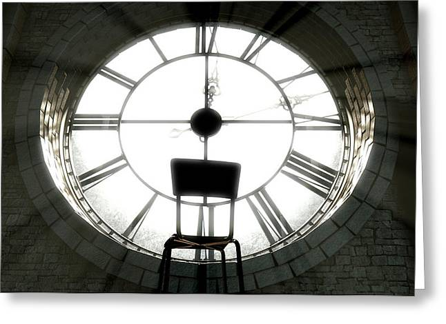 Antique Backlit Clock And Empty Chair Greeting Card by Allan Swart