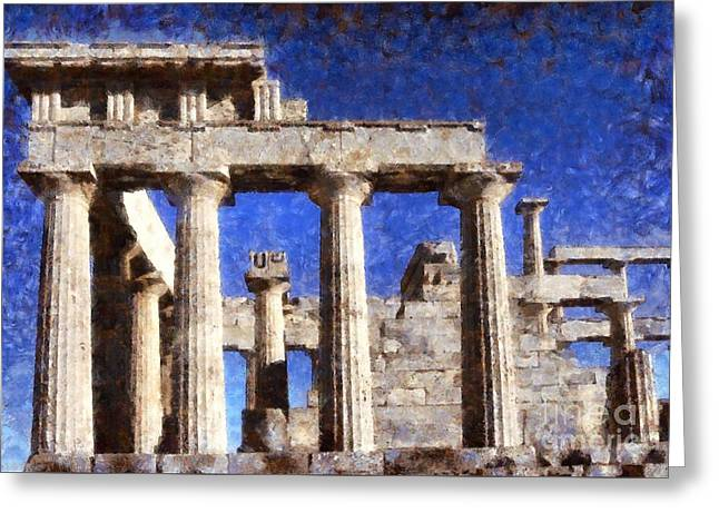 Aphaia Athina Temple Greeting Card