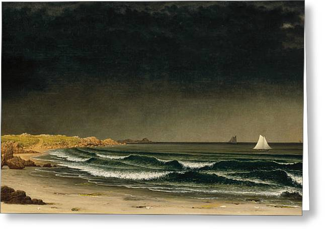 Approaching Storm Beach Near Newport Greeting Card by Martin Johnson Heade