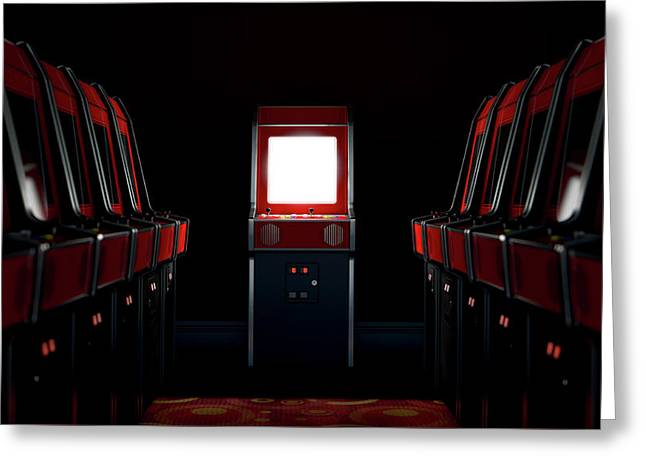 Arcade Aisle With One Illuminated  Greeting Card by Allan Swart