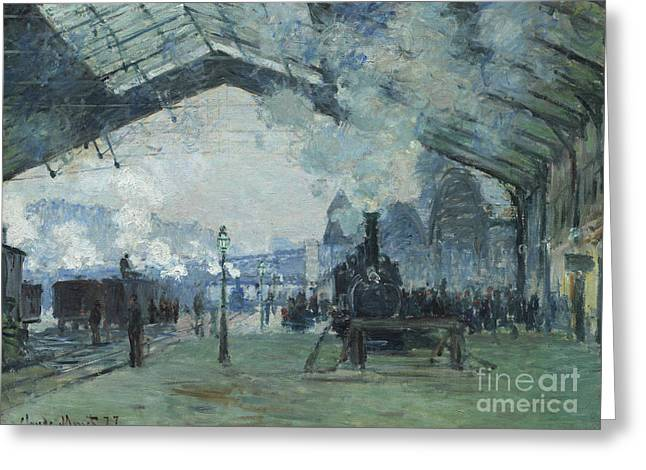 Arrival Of The Normandy Train Gare Saint-lazare Greeting Card by Claude Monet