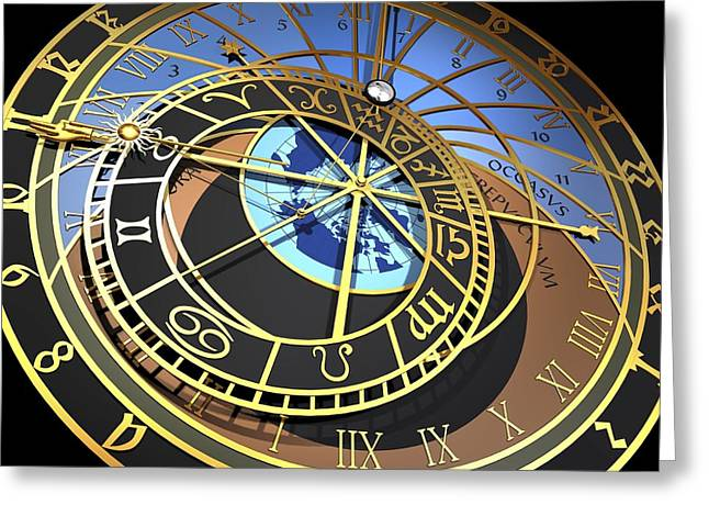 Astronomical Clock, Artwork Greeting Card by Pasieka