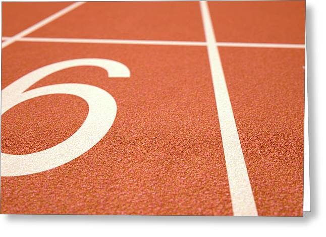 Athletics Track Startline Greeting Card by Allan Swart