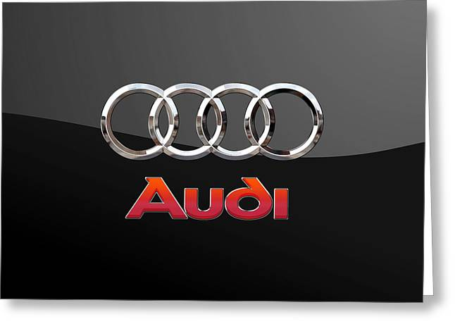 Audi - 3 D Badge On Black Greeting Card by Serge Averbukh