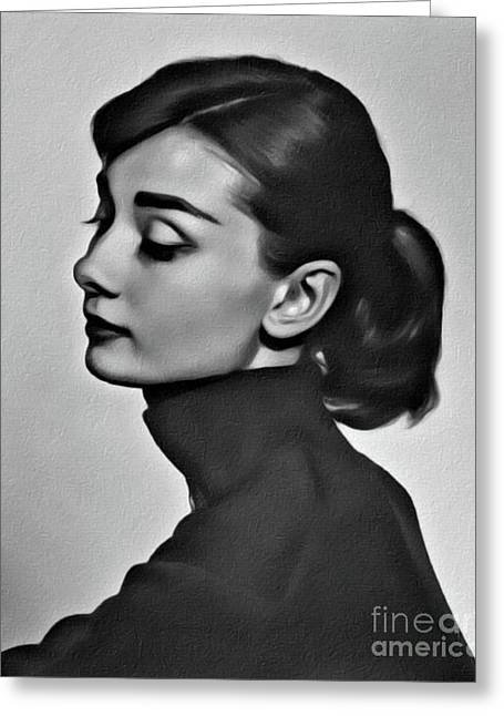 Audrey Hepburn, Digital Art By Mary Bassett Greeting Card