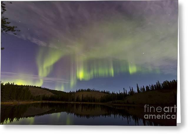 Aurora Borealis Over Hidden Lake Greeting Card