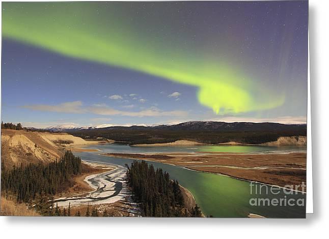 Aurora Borealis Over The Yukon River Greeting Card by Joseph Bradley