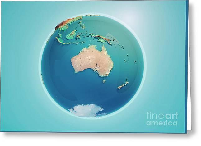 Australia 3d Render Planet Earth Greeting Card