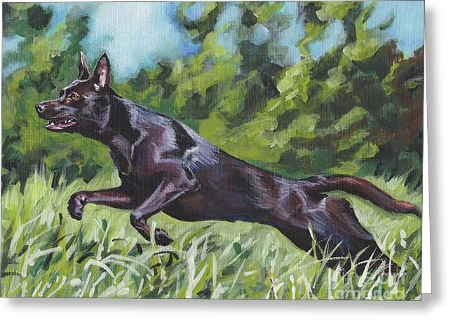 Greeting Card featuring the painting Australian Kelpie by Lee Ann Shepard