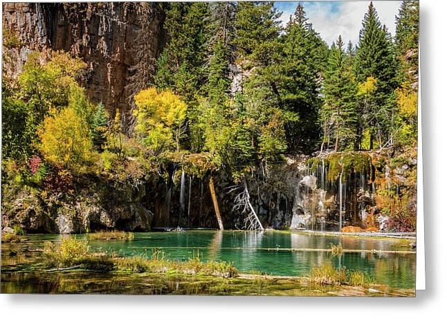 Autumn At Hanging Lake Waterfall - Glenwood Canyon Colorado Greeting Card