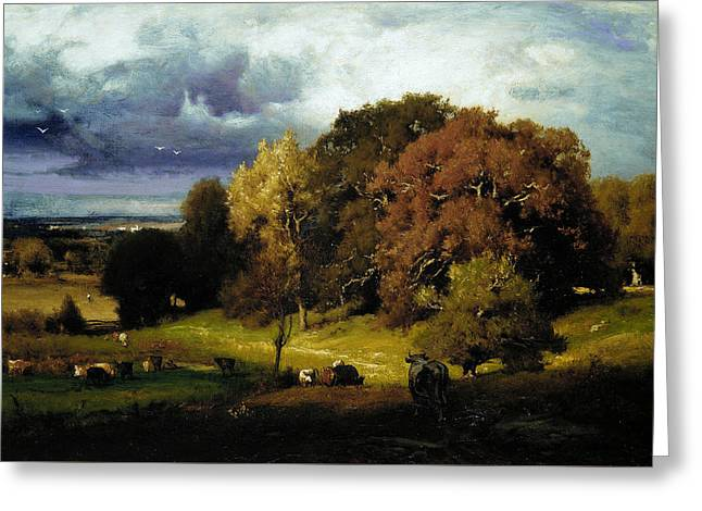 Autumn Oaks Greeting Card by George Inness