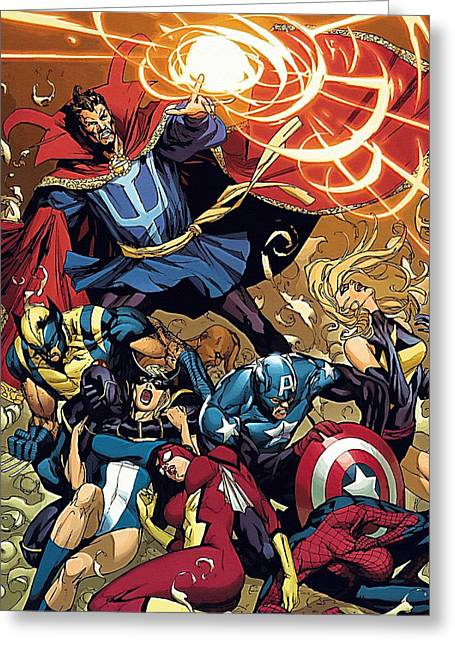 Avengers The Drawing Greeting Card by Egor Vysockiy