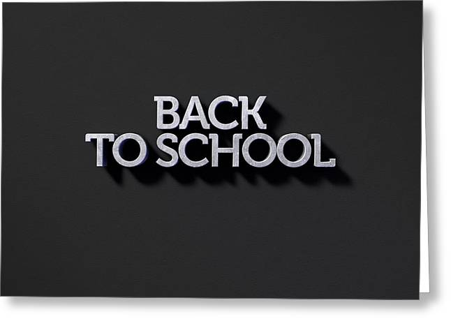 Back To School Text On Black Greeting Card