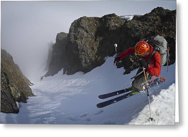 Backcountry Skier On West Twin Peak Greeting Card by Joe Stock