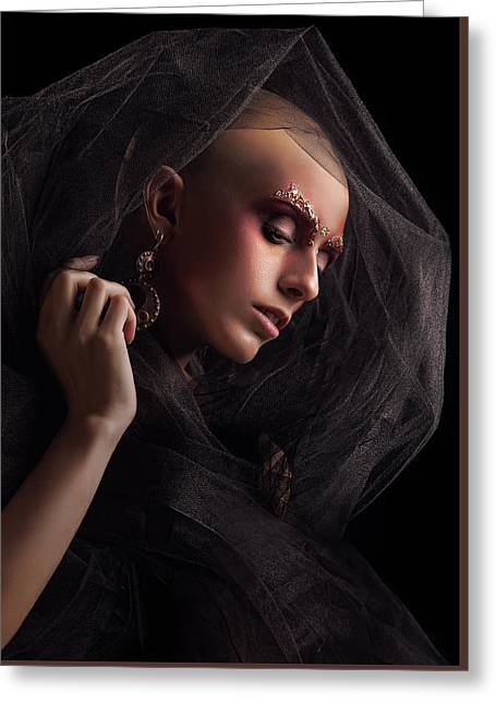 Baldhead Woman Greeting Card by Evgeniia Litovchenko
