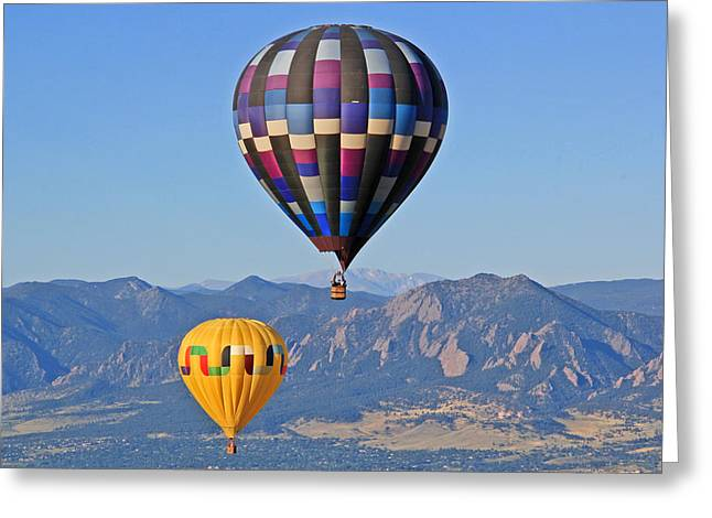 2 Balloons Flying Over The Flatirons Greeting Card by Scott Mahon