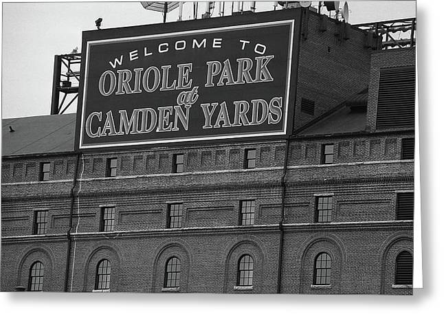 Baltimore Orioles Park At Camden Yards Bw Greeting Card