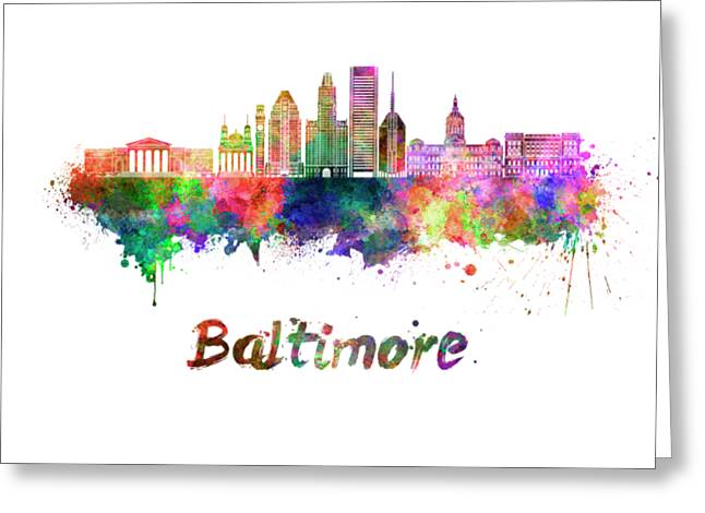 Baltimore Skyline In Watercolor Greeting Card by Pablo Romero