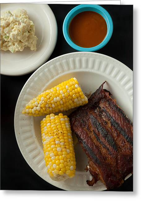 Barbecue Pork Spare Ribs With Corn And Potato Salad Greeting Card