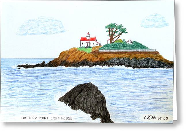 Battery Point Lighthouse Greeting Card by Frederic Kohli