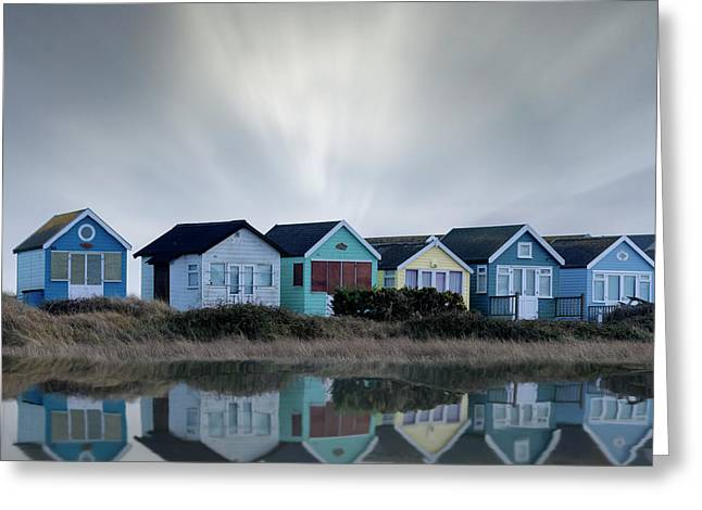 Beach Huts Greeting Card by Joana Kruse