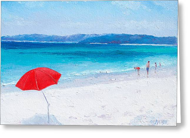 Beach Paddling Greeting Card by Jan Matson