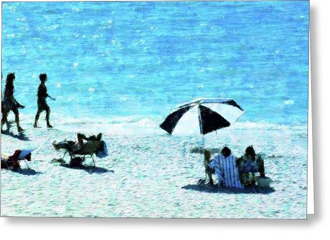 Beach Walk Greeting Card by Florene Welebny