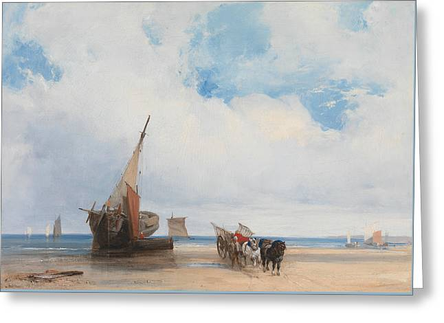 Beached Vessels And A Wagon, Near Trouville, France Greeting Card by Richard Parkes Bonington
