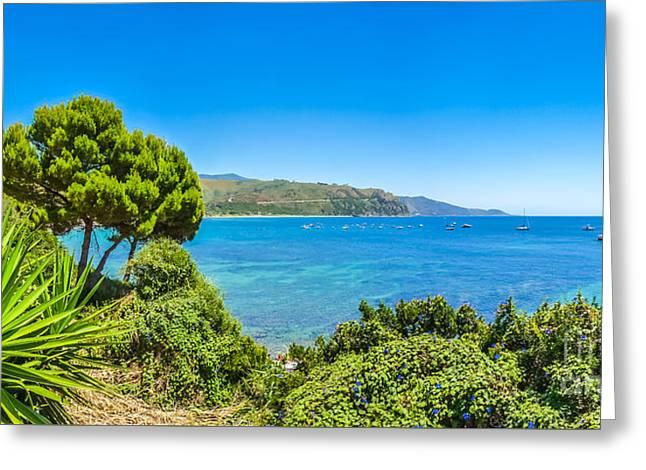 Beautiful Coastal Landscape At The Cilentan Coast, Campania, Sou Greeting Card
