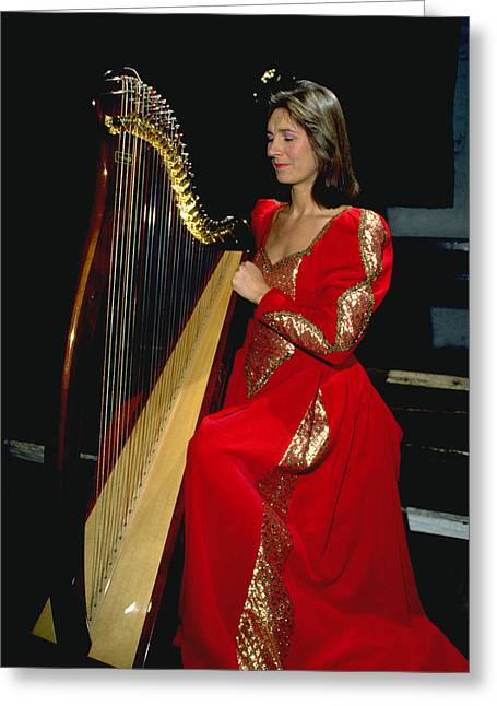 Beautiful Harp Player Greeting Card by Carl Purcell