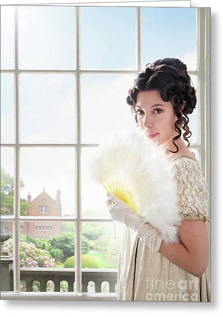 Beautiful Regency Woman At The Window Greeting Card by Lee Avison