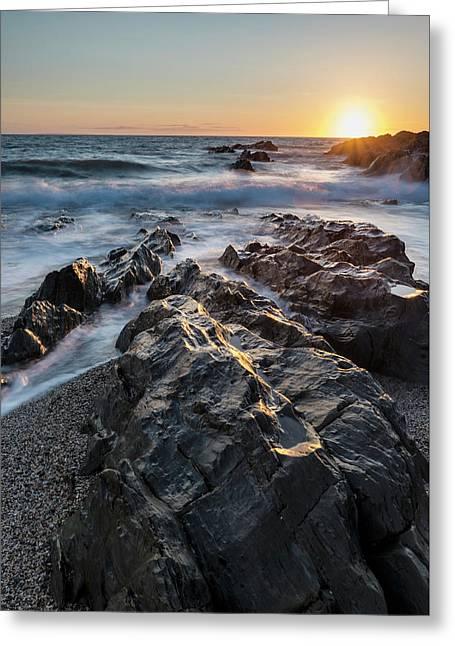 Beautiful Vibrant Sunset Landscape Image Of Calm Sea Against Roc Greeting Card