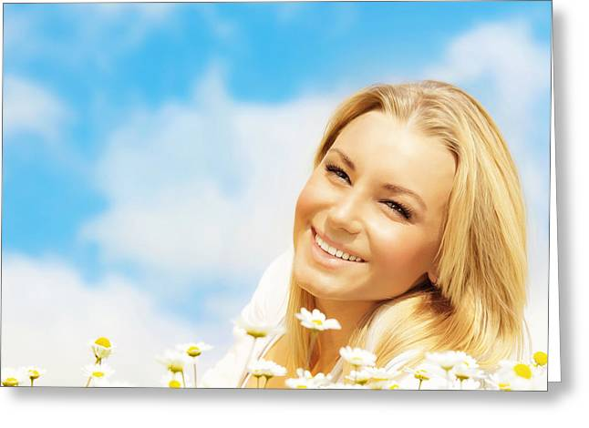 Beautiful Woman Enjoying Daisy Field And Blue Sky Greeting Card