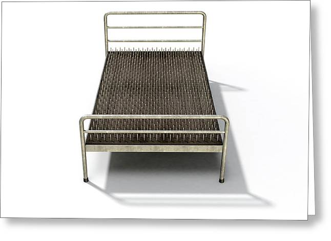 Bed Of Nails Isolated Greeting Card