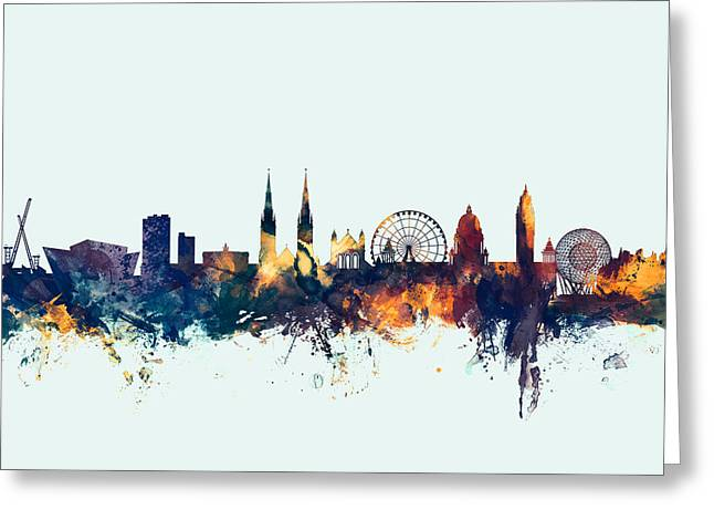 Belfast Northern Ireland Skyline Greeting Card by Michael Tompsett