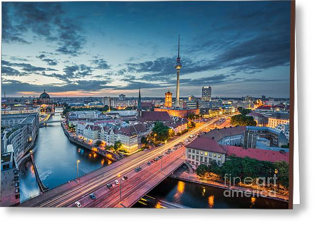 Berlin City Lights Greeting Card by JR Photography
