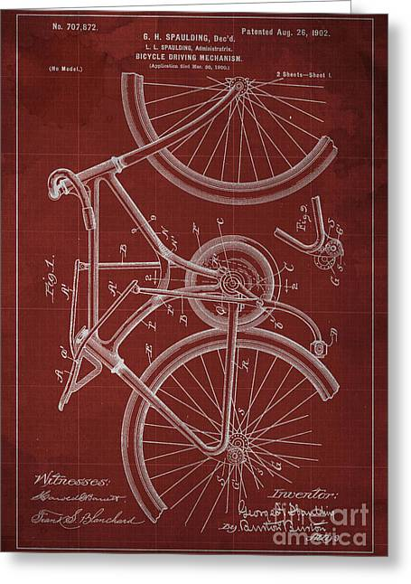 Bicycle Driving Mechanism Patent Year 1902 Greeting Card