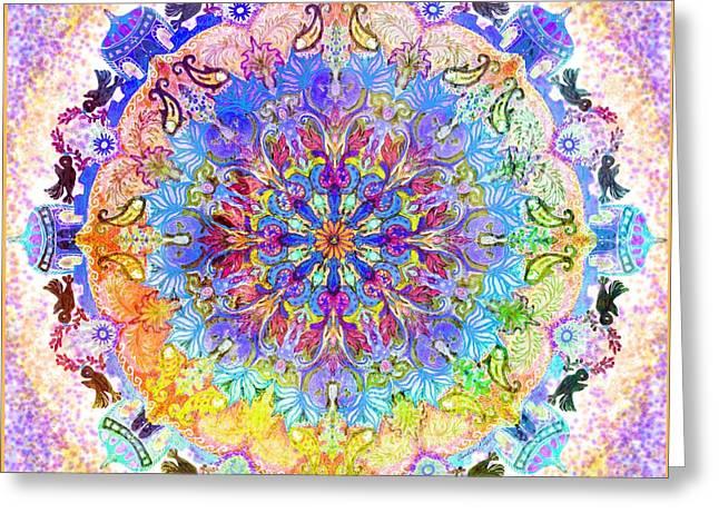 Birth Mandala-ink Project Greeting Card by Sandrine Kespi