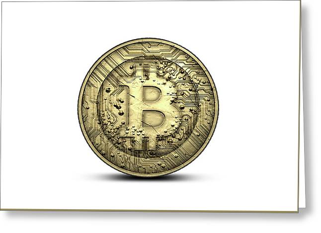 Bitcoin Physical Greeting Card by Allan Swart