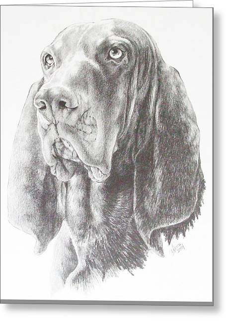 Greeting Card featuring the drawing Black And Tan Coonhound by Barbara Keith